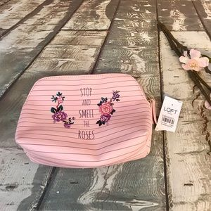 Loft Stop & Smell The Roses Pink Floral Makeup Bag